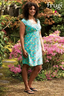 Frugi GOTS Organic Jersey Maternity And Breastfeeding Dress In Parasol Print
