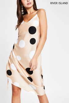 River Island Stone Spot Rambla Midi Dress