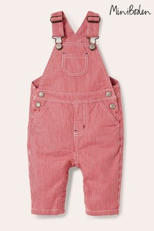 Boden Red Classic Ticking Dungarees