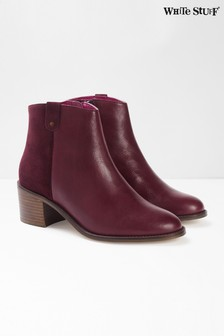 White Stuff Red Blake Block Heel Ankle Boots