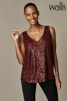 Wallis Berry Metallic Sequin V-Neck Cami