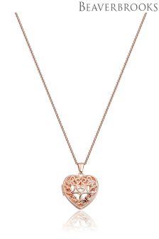Beaverbrooks Rose Gold Plated Heart Locket Pendant