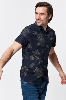 M&Co Men Blue Japanese Flower Print Shirt