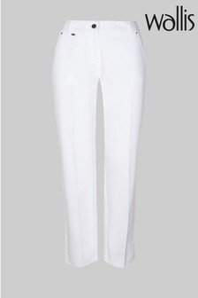 Wallis Petite White Cotton Crop Trousers