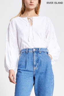 River Island White Long Sleeve Lace Panel Smock Top