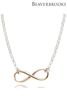 Beaverbrooks Silver and Rose Gold Plated Infinity Necklace