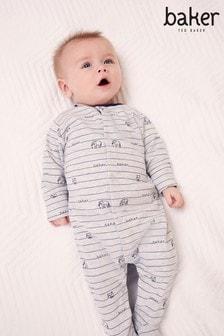 Baker by Ted Baker Baby Boys Grey Stripe Sleepsuit