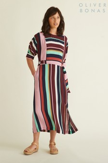 Oliver Bonas Pink Cut About Striped Dress