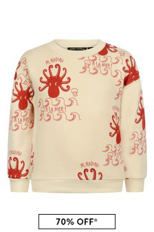 Mini Rodini Girls Ivory Octopus Sweater