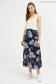 French Connection Blue Caterina Crepe Midi Wrap Skirt