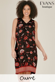 Evans Curve Black Floral Print Shift Dress
