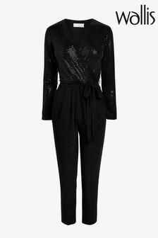 Wallis Black Petite Sparkle Jumpsuit