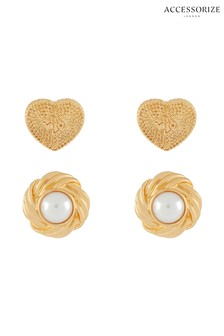 Accessorize Cream Vintage Pearl Stud Set