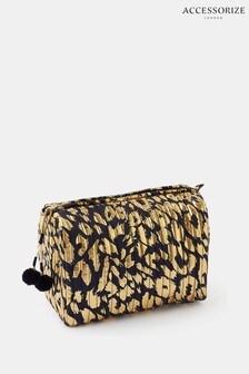 Accessorize Leopard Metallic Make-Up Bag