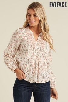 FatFace Natural Pippa Embroidered Brushstroke Popover Shirt