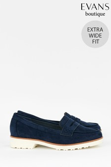 Evans Blue Extra Wide Fit Sole Loafers