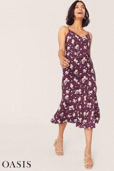 Oasis Red Rose V-Neck Peplum Slip Dress