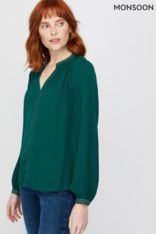 Monsoon Green Willow Embellished Top