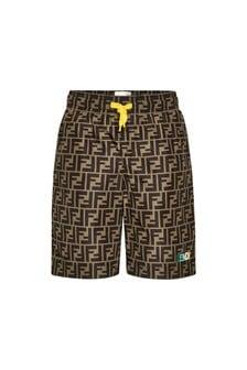 Fendi Kids Boys Brown Shorts