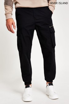River Island Black Zeus Cargo Trousers