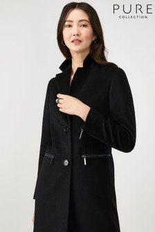 Pure Collection Black Single Breasted Zip Detail Coat
