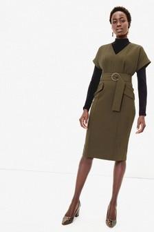 Oasis Green Utility Wiggle Dress