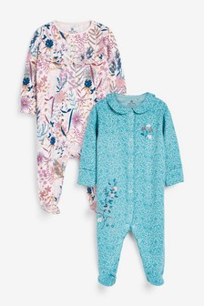 2 Pack Floral Sleepsuits (0mths-2yrs)