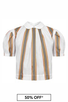 Burberry Kids Girls White Cotton Blouse
