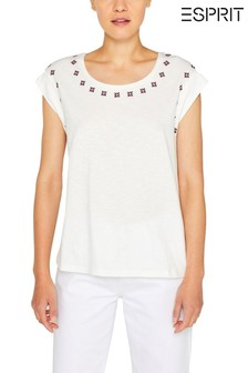 Esprit White Slub T-Shirt With Embroidery
