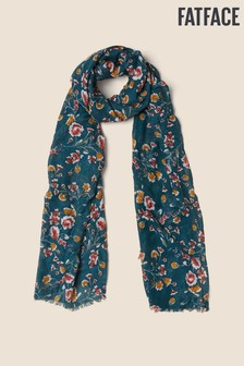 FatFace Green Trailing Floral Scarf