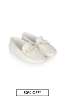 Tods Kids White Leather Loafers