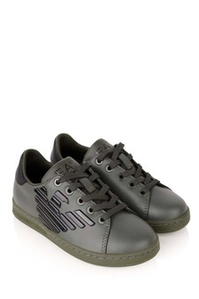 Kids Green & Black Leather Classic Trainers