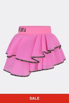 Girls Pink Mesh Ruffle Skirt