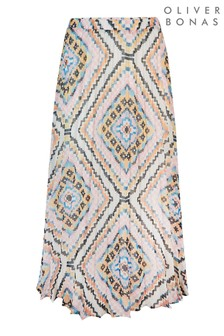 Oliver Bonas White Mosaic Print Pleat Skirt