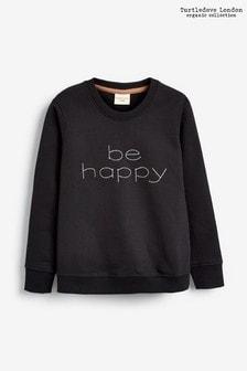 Turtledove London Black Organic Cotton Be Happy Sweatshirt