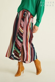 Oliver Bonas Pink Cut About Striped Skirt