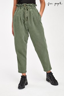 Free People Pleated High Waist Cargo Trousers
