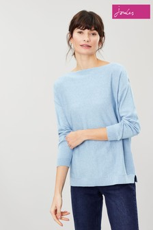 Joules Blue Bess Jumper With Side Seam Rib