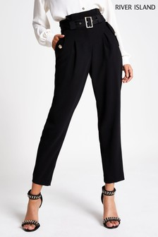 River Island Black Peg Trousers