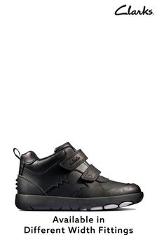 Clarks Black Leather Rex Crash K Shoes
