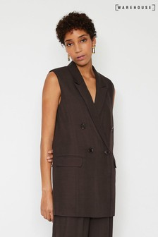Warehouse Brown Oversized Sleeveless Jacket