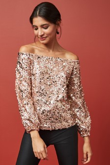 Sequin Bardot Long Sleeve Top