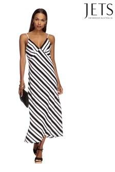 Jets Liberate Black/White Striped Slip Dress