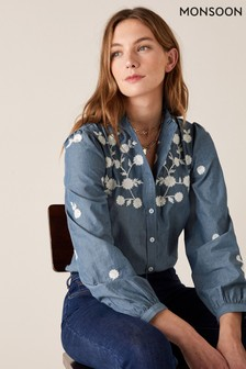Monsoon Blue Floral Embroidery Top In Pure Cotton