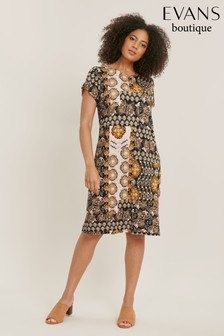 Evans Curve Ochre Printed Jersey Swing Dress