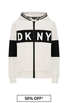DKNY White Cotton Sweat Top