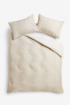 Embroidered Leaf Duvet Cover and Pillowcase Set