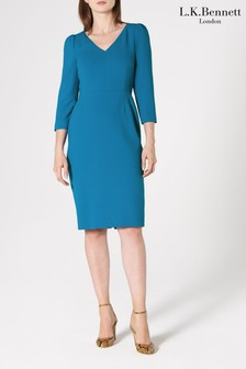 L.K. Bennett Blue Mai V-Neck Ruched Sleeve Dress