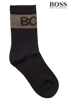 BOSS Black Rib Shine Logo Socks