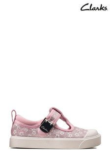 Clarks Pink Floral City Dance T Canvas Shoes